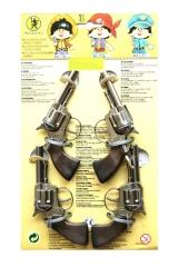 Pistolen Metall 1-Schuss 4 Stück Fasching Cowboy
