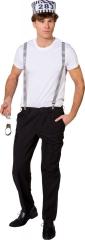 Sträfling Gefangener Knacki Set Kappe, Hosenträger und Handschellen