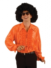 70er 80er Jahre Rüschenhemd orange Schlager Mottoparty