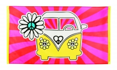 Flower Power Mottoparty Banner Flagge VW Bus 90cm x 150cm