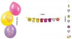 70er Jahre Deko Set Ballons Girlande Wimpelkette Hängedekoration Peace