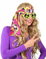 Brille Peace Hippieparty Mottoparty Kostümfest Schlagerparty Accessoir