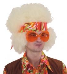 Hippie Set Afro Perücke +Stirnband + Brille 70er Jahre