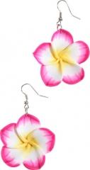 Ohrringe Hippie Blume Hawai Ohrhänger Blüte pink Blumenmädchen