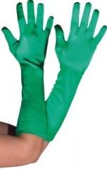 Satin Handschuhe dunkelgrün Kostümzubehör Faschingszubehör