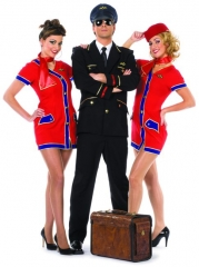 Flugbegleiterin rot blau Damenkostüm Faschingskostüm Karneval Mottopar