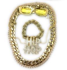 Mega Babo Lude Macho Prolethen HipHop Rapper Set  5 teilig Ketten Brille Armband