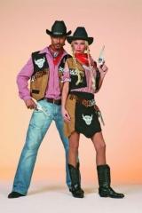 Cowboy Weste mit Hemd u. Hut Karneval Fasching Kostüm
