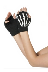 Skeletthandschuhe fingerlos Sensemann Tod Skelett Horror Halloween
