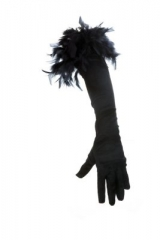 Handschuhe lang mit Boa Fasching Karneval Mottoparty