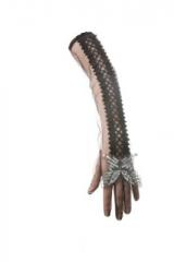 Handschuhe mit silbernem Schmetterling Damenhandschuhe