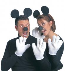 Maus Maus-Set Mäuse Mausohren Nase Handschuhe