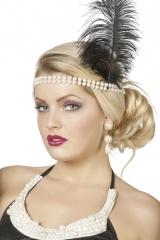 Charleston Flapper Charlestonstirnband mit Perlen + schwarzer Feder