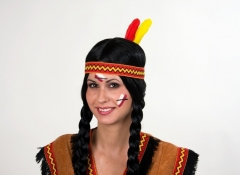 Indianer Stirnband elastisch Federn Wilder Westen Kostümfest Kopfschmu