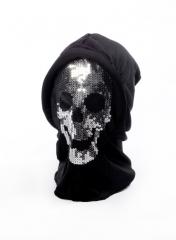 Totenkopfmaske Skelett mit Kaputze Halloween Gruselmaske Morph