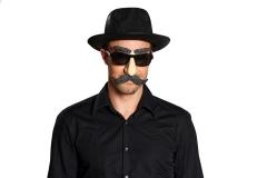 Partybrille Brille + Schnurrbart Spassbrille Ganove Gangster Nasenbril