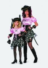 Piratenkleid rosa mit Totenkopf Seeräuberin Damenkostüm Faschingskostü