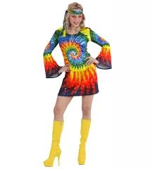 Retrokleid Hippie Damenkleid Woodstock 70er Jahre Flower Psychedelic