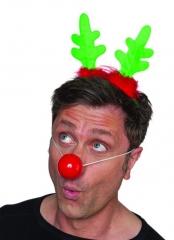 Rentier Rudolph Rentiergeweich Elchgeweih mit roter Nase Weihnachten