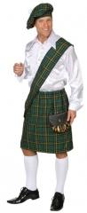 Schotte Schottenrock grün + Schärpe + Barett + Tasche