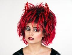 Teufelsperücke mit Hörnern Karneval Fasching Halloween