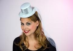 Mini Zylinder auf Kopfbügel mit Schleier Karneval Party