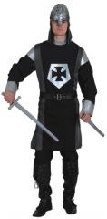 Schwarzer Ritter lang Herrenkostüm Mittelalter Faschingsverkleidung