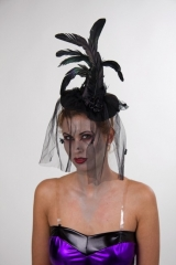 Eleganter Hexenhut mit Tüllschleier Karneval Halloween
