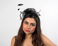Haarschmuck Hut Kopfputz Fantasie Haarreif schwarz oder pink