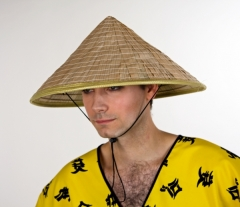 Chinesenhut natur Strohhut Japaner Kopfbedeckung Zubehör Chinese
