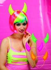 Festival Neon Artikel Teufelshörner Raver pink grün gelb oder orange