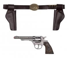 8 Schuss Revolver Cowboy mit Gurt Halfter Wilder Westen Zubehör Pistole Qualität