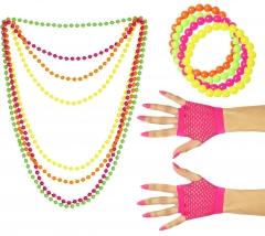 80er Jahre Set Damen Neon 4 Perlenketten Handschuhe kurz 4 Perlenarmbänder