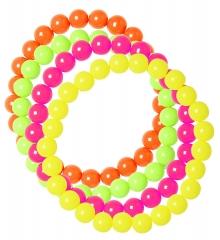80er Jahre Set Damen Neon 4 Perlenketten Handschuhe lang 4 Perlenarmbänder