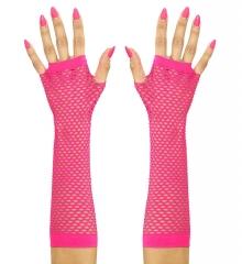 80er Jahre Set Damen Neon pink Beinstulpen Handschuhe Halskette Ohringe kurz