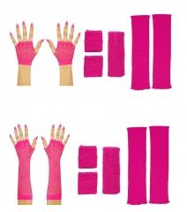 80er Jahre Set Damen Neon pink Beinstulpen Handschuhe Schweiß und Stirnband lang