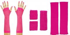 80er Jahre Set Damen Neon pink Beinstulpen Handschuhe Schweiß und Stirnband