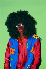 70er Jahre Afro Look Perücke mit Brille Karneval Party