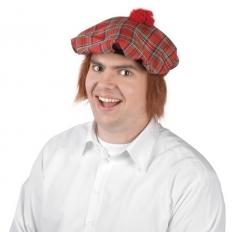 Schotte Schottenmütze mit Haar Karneval Fasching Party