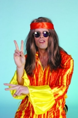 Hippi 60er 70er Jahre Perücke + Brille Karneval Party
