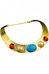 Cleopatra Göttin Orient Halsschmuck goldfarben mit Steinen Ägypten