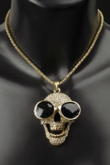 Halskette Oscar Totenkopf Totenkopfkette mit Brille Strass Rapper