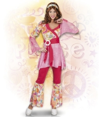 Hippie Kostüm Happy Diva 70er Jahre Schlager Themen Mottoparty 4teilig