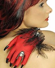 Hexe Teufel Handschuhe Hexenkrallen Teufelskrallen rot oder schwarz