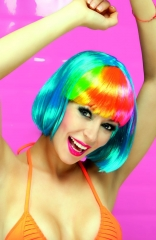 Perücke Giggles bunte Party Techno neonfarbene Faschingsperücke