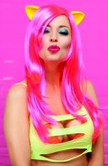Perücke Meowy neonrosa Techno Karneval und Faschingsperücke