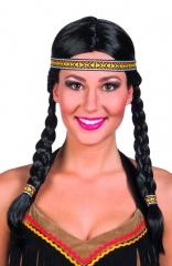 Perücke Indianerin Kewanee mit Stirnband Indio Indianer Squaw
