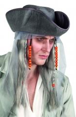Perücke Ghost pirate mit Hut Pirat Piraten Karnevalsperücke