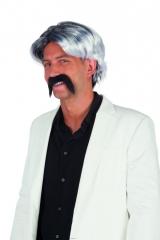 Prollperücke Chuck mit Schnurrbart Herrenperücke schwarz weiß Partyper