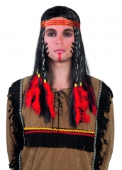 Perücke Indian Cheveyo mit Stirnband Herrenperücke Indianer Wilder Wes